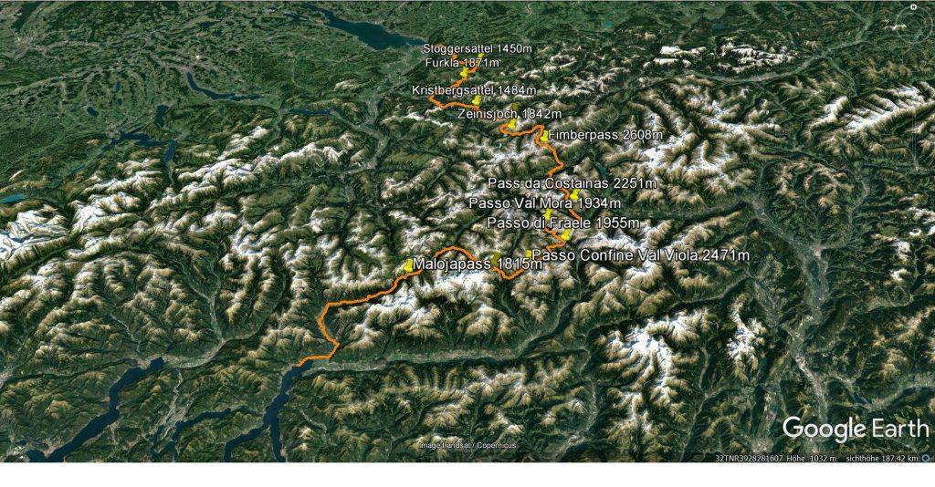 Tourverlauf -Transalp vom Bodensee zum Comer See