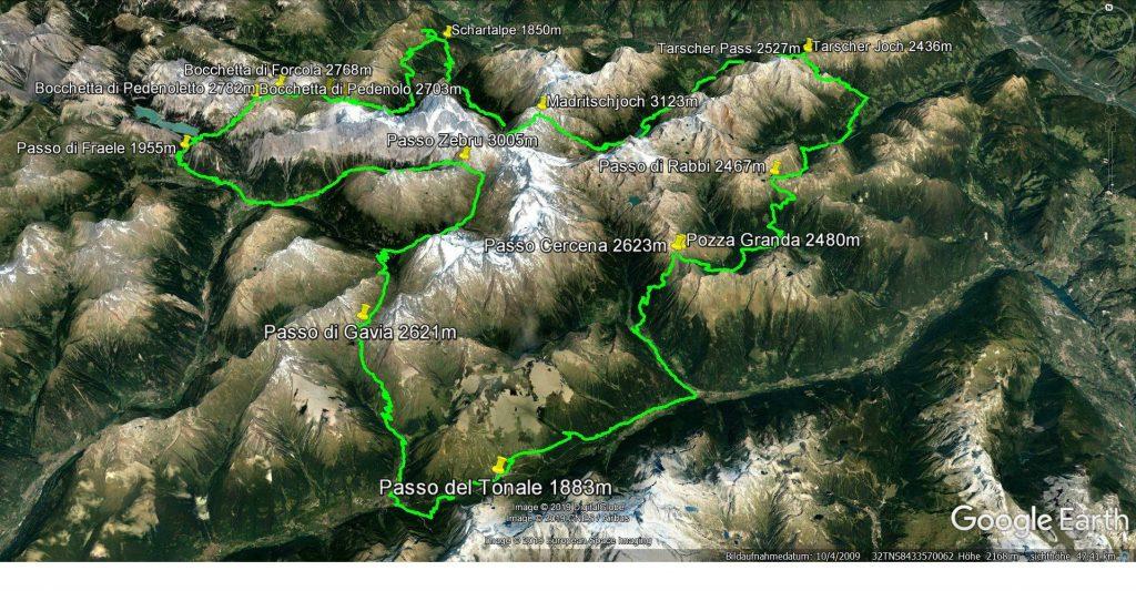 Der Tourverlauf- Die Umrundung des Ortler Massivs