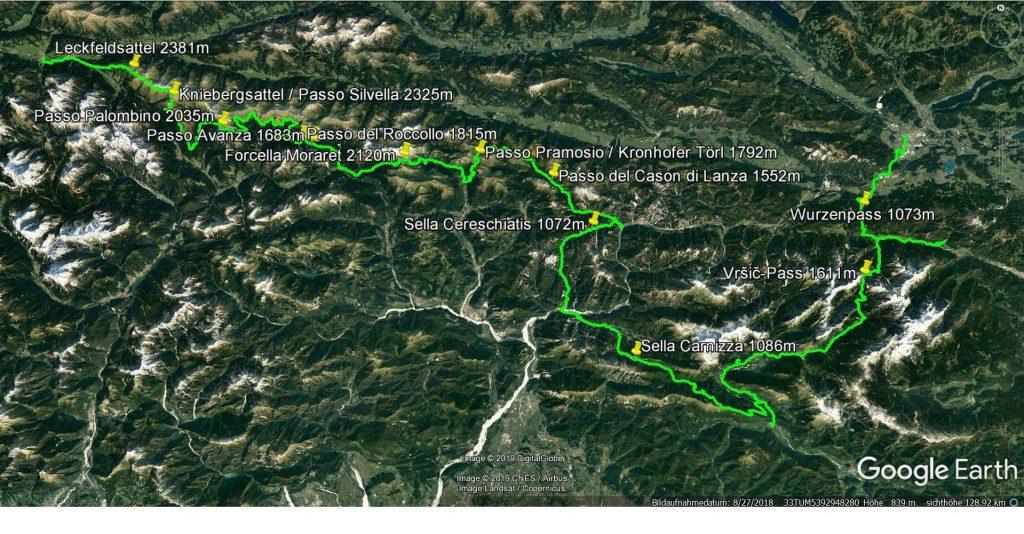 Der Tourverlauf durch die Karnischen Alpen ins Soca Tal