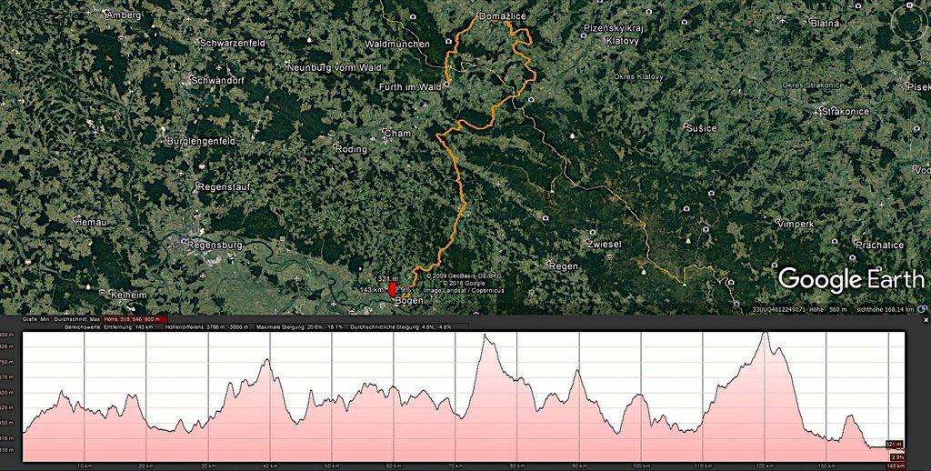 Tourverlauf und Höhenprofil des Baierweg im Bayerischer Wald