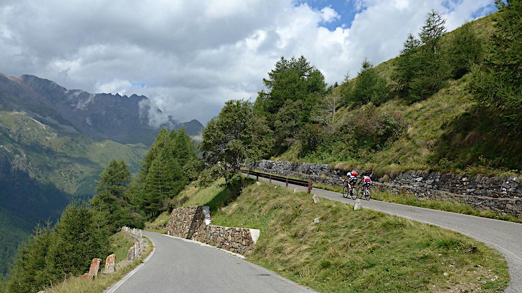 Zwei Rennradler auf dem Weg zum Gavia Pass