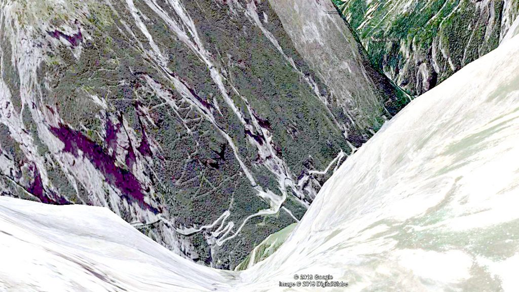 Ein Wegverlauf mit Google Earth angezeigt