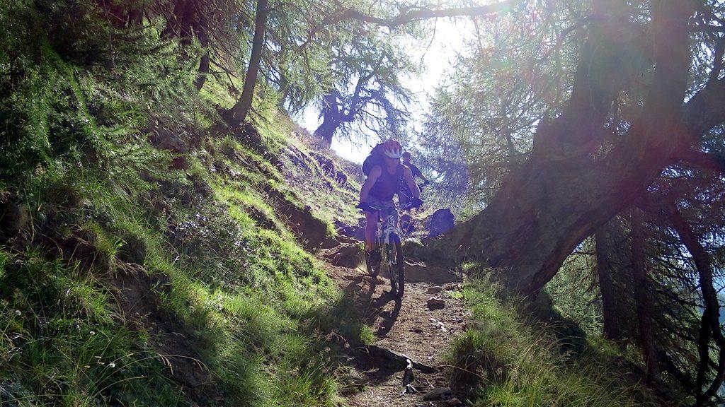 Ein Biker auf dem schönen Trail Knappenweg 29 fährt hinunter zur Timmelsbrücke