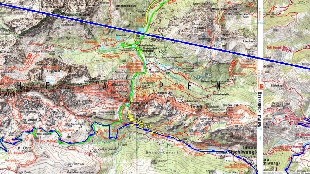 Ein Detail der Tourplanung mit der Topografischen karte