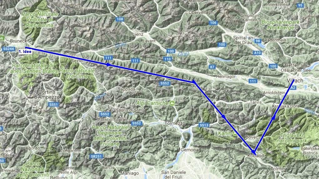 Der Tourverlauf wird verändert damit wir von Süden nach Villach kommen