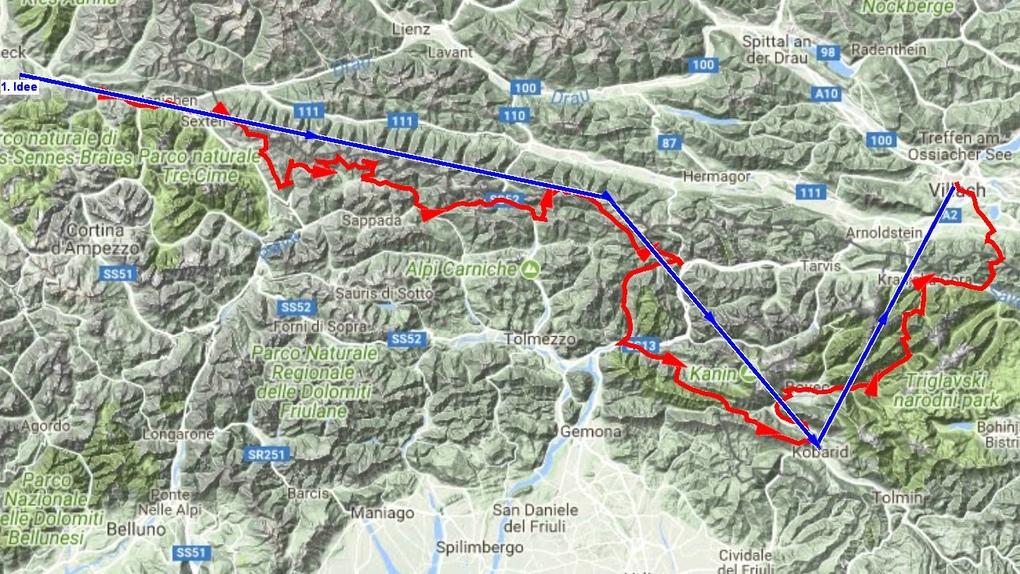 Gegenüberstellung von Grob- und Feinplanung einer Transalp Tour