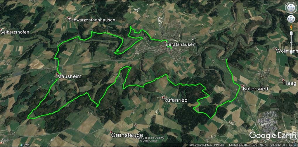 Der Tourverlauf der Gansbratentour 2019 auf Google Earth