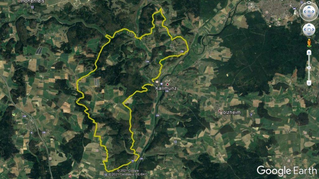 Der Tourverlauf bei Kallmünz